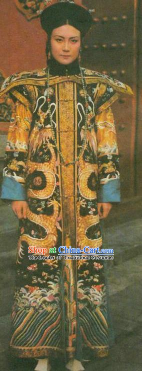 Chinese Ancient Qing Dynasty Empress Dowager Cian Manchu Dress Historical Costume for Women