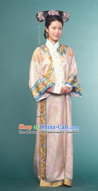 Chinese Ancient Qing Dynasty Imperial Concubine Manchu Pink Dress Historical Costume for Women