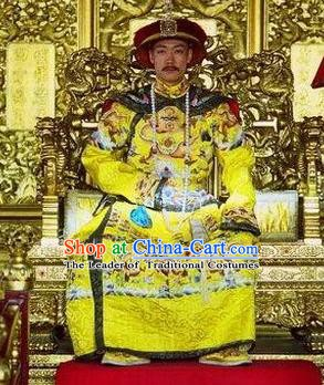 Chinese Qing Dynasty Manchu Qianlong Emperor Replica Costumes Ancient Imperial Robe Historical Costume for Men