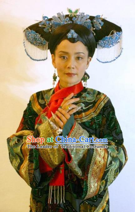 Chinese Qing Dynasty Queen Mother of Kangxi Historical Costume Ancient Manchu Empress Dowager Clothing for Women