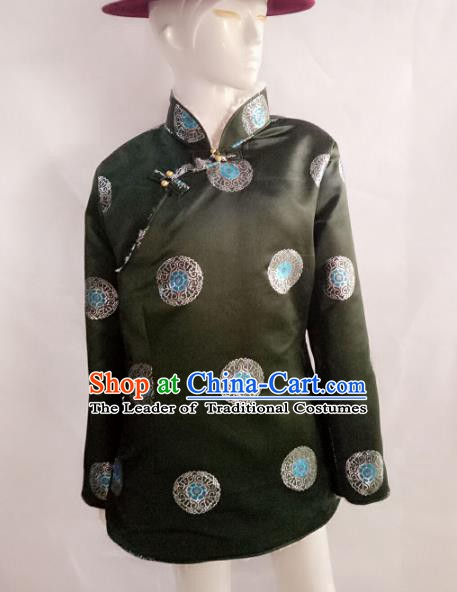 Traditional Chinese Zang Nationality Costume Green Cotton-padded Jacket, Tibetan Ethnic Minority Coat for Men