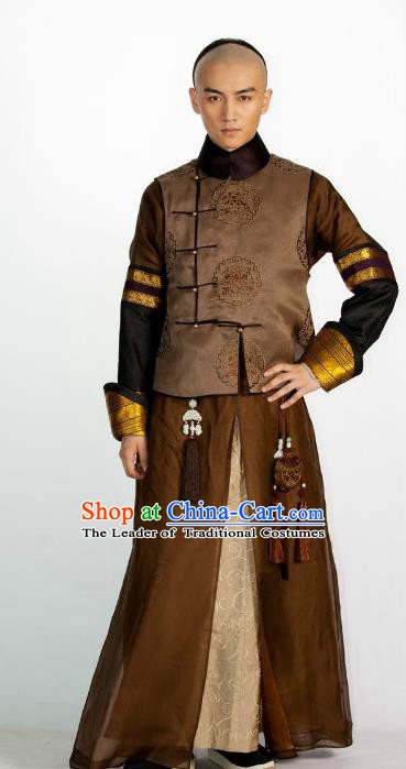 Ancient Chinese Qing Dynasty Thirteen Prince of Kangxi Historical Costume Manchu Nobility Childe Clothing for Men