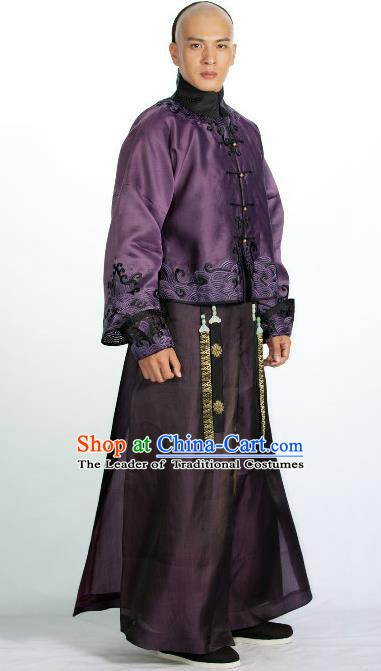 Chinese Qing Dynasty Manchu Nobility Yintang Historical Costume Ancient Royal Prince Clothing for Men