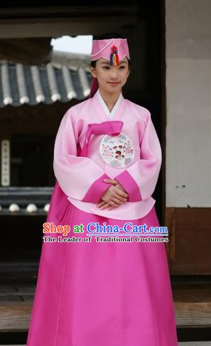 Korean Traditional Pink Hanbok Clothing Korean Bride Fashion Apparel Hanbok Costumes for Women