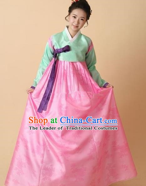 Korean Traditional Bride Hanbok Clothing Green Blouse and Pink Skirt Korean Fashion Apparel Costumes for Women