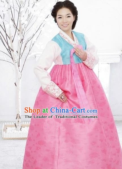 Korean Traditional Bride Hanbok Clothing Blue Blouse and Pink Skirt Korean Fashion Apparel Costumes for Women