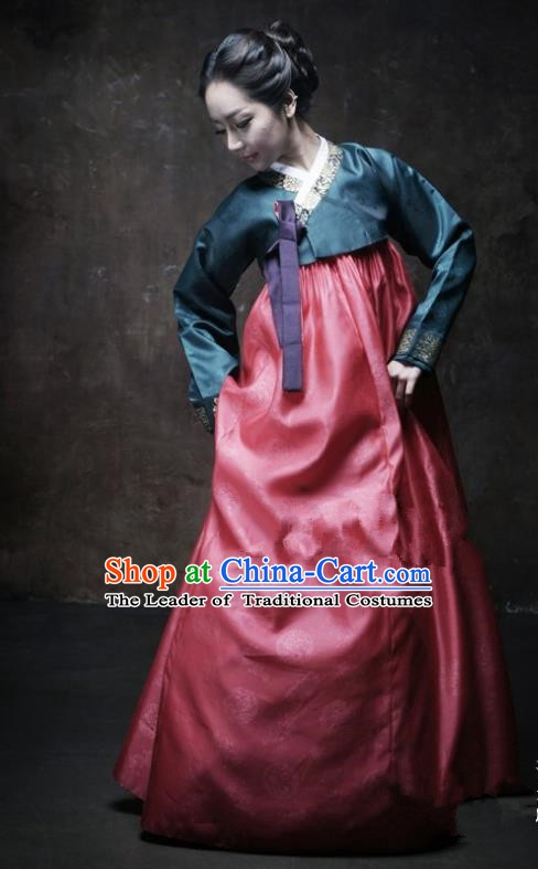 Korean Traditional Bride Palace Hanbok Clothing Atrovirens Blouse and Dress Korean Fashion Apparel Costumes for Women