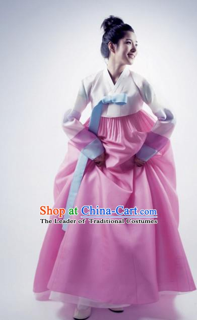 Korean Traditional Bride Palace Hanbok Clothing White Blouse and Pink Dress Korean Fashion Apparel Costumes for Women