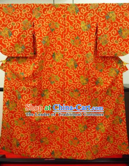Japan Ancient Orange Furisode Kimonos Traditional Female Yukata Dress Formal Costume for Women