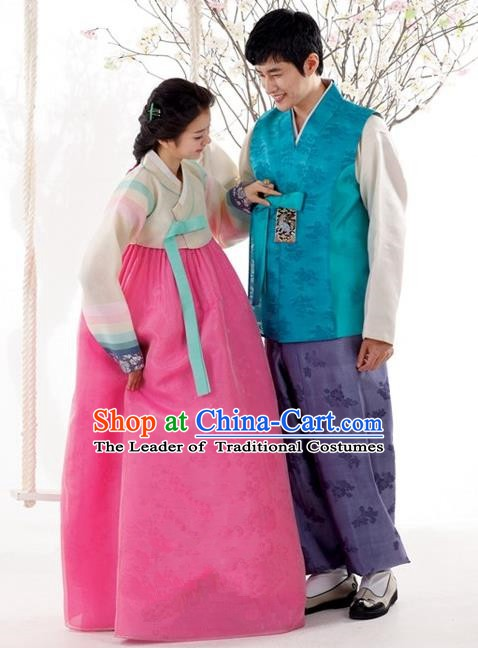 Korean Traditional Bride and Bridegroom Palace Hanbok Clothing Complete Set
