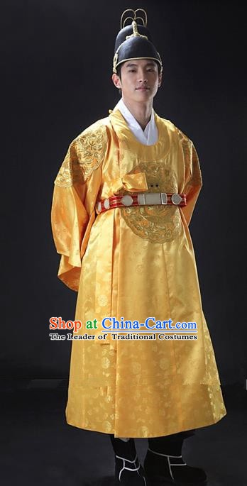 Asian Korean Traditional Palace Emperor Hanbok Clothing Ancient Korean King Yellow Robe Costume for Men