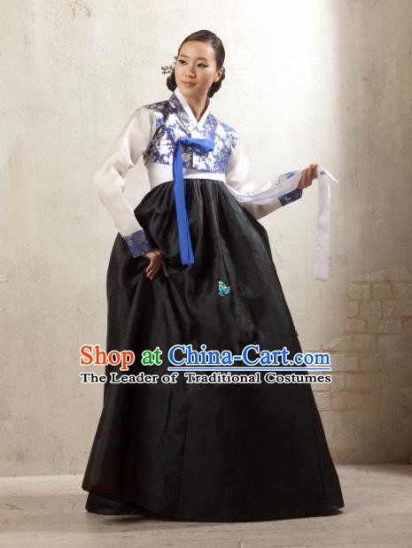 Korean Traditional Palace Garment Hanbok Fashion Apparel Costume Bride Black Dress for Women