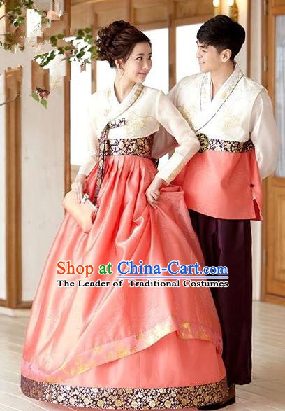 Korean Traditional Garment Palace Orange Hanbok Fashion Apparel Bride and Bridegroom Costumes Complete Set