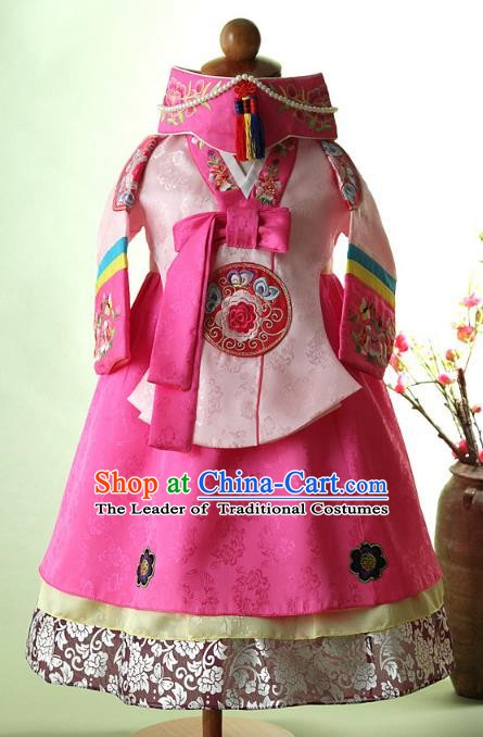 Korean Traditional Hanbok Korea Children Pink Blouse and Dress Fashion Apparel Hanbok Costumes for Kids