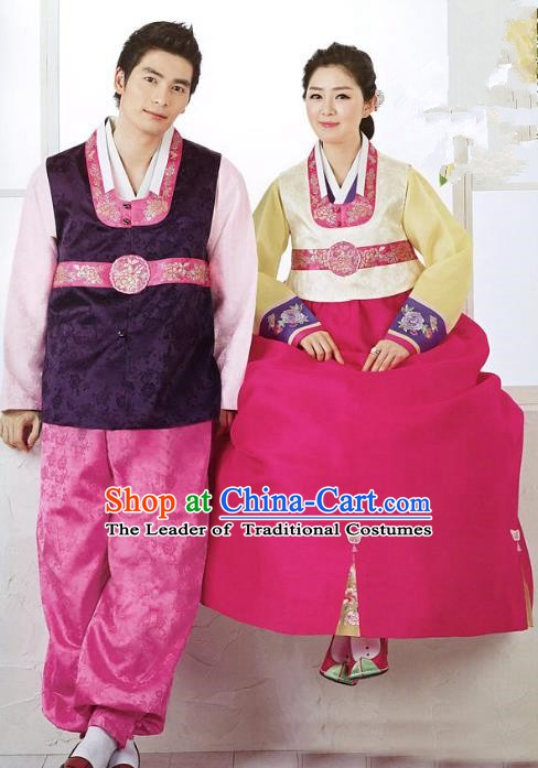 Asian Korean Traditional Palace Hanbok Wedding Clothing Ancient Korean Bride and Bridegroom Costumes Complete Set
