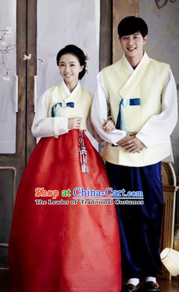 Asian Korean Traditional Palace Yellow Hanbok Clothing Ancient Korean Bride and Bridegroom Costumes Complete Set