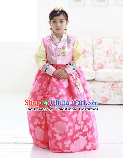 Korean Traditional Hanbok Korea Children Pink Dress Fashion Apparel Hanbok Costumes for Kids