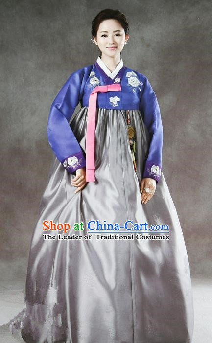 Korean Traditional Handmade Palace Hanbok Blue Blouse and Grey Dress Fashion Apparel Bride Costumes for Women