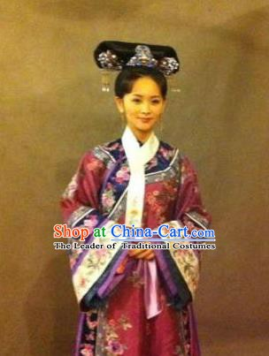 Chinese Ancient Qing Dynasty Manchu Dress Imperial Concubine Embroidered Costume for Women