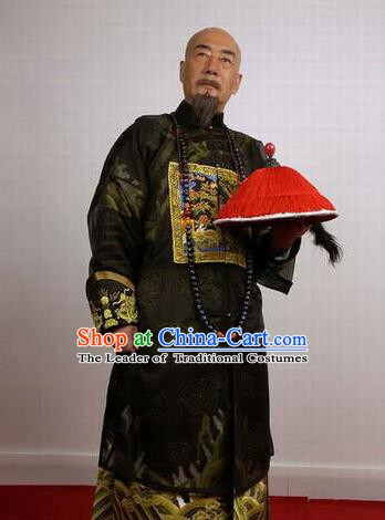 Chinese Ancient Qing Dynasty Chancellor Nalan Mingzhu Costume for Men