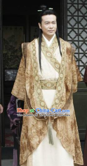 Chinese Ancient Ming Dynasty Emperor Yongle Zhu Di Clothing Embroidered Imperial Robe for Men