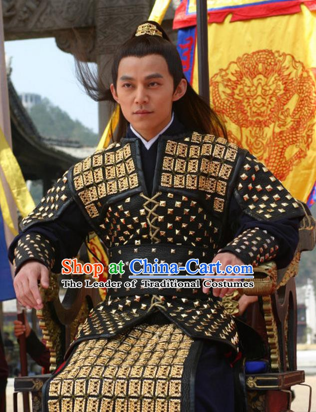 Traditional Chinese Ancient Ming Dynasty Emperor Zhengde Zhu Houzhao Armour Replica Costume for Men