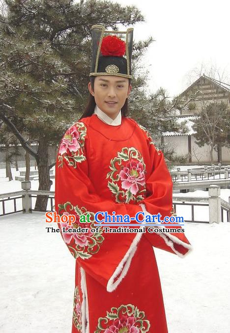 Traditional Chinese Ancient Ming Dynasty Chancellor Embroidered Replica Costume for Men