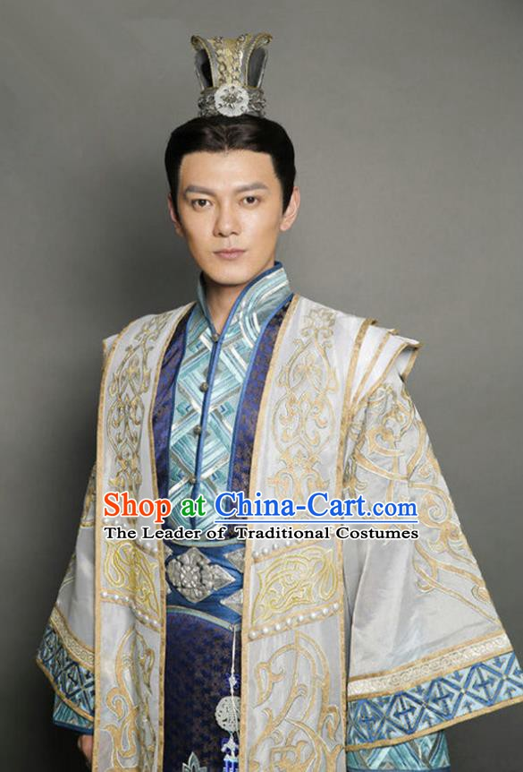 Traditional Chinese Ancient Tang Dynasty Swordsman Prince Embroidered Replica Costume for Men