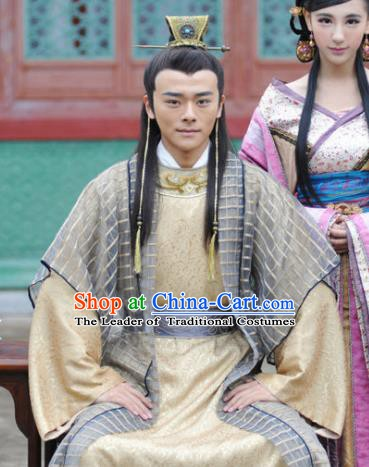 Traditional Chinese Ancient Ming Dynasty Emperor Si Zhu Youjian Replica Costume for Men