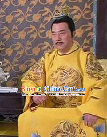 Traditional Chinese Ancient Ming Dynasty Founding Emperor Zhu Yuanzhang Embroidered Imperial Robe Replica Costume for Men