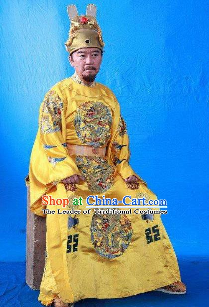 Chinese Ancient Ming Dynasty First Emperor Zhu Yuanzhang Embroidered Imperial Robe Replica Costume for Men