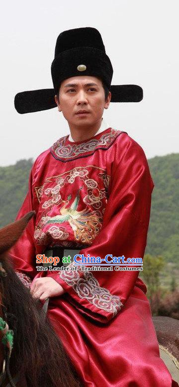 Chinese Ancient Ming Dynasty Magistrate Official Replica Costume Red Gwanbok for Men