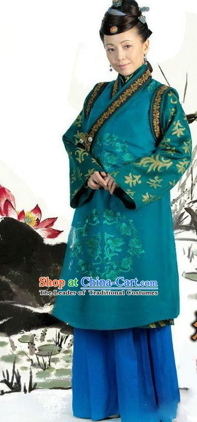 Ancient Chinese Ming Dynasty Historical Costume Dowager Countess Green Replica Costume for Women