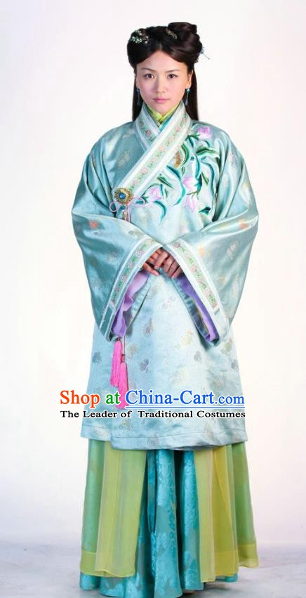 Ancient Chinese Ming Dynasty Historical Costume Palace Lady Blue Embroidered Replica Costume for Women