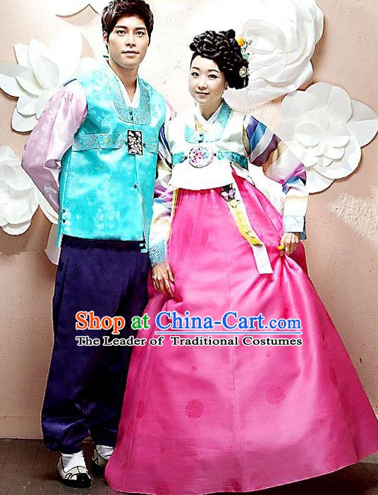 Asian Korean Palace Hanbok Ancient Traditional Bride and Bridegroom Costumes Complete Set