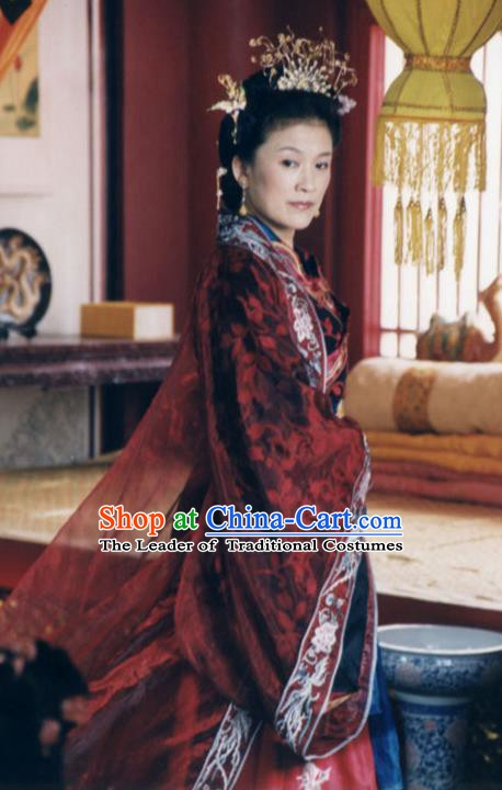 Chinese Ancient Ming Dynasty Empress Dowager Wu Embroidered Dress Replica Costume for Women