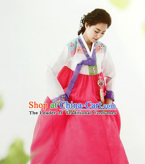 Top Grade Korean Palace Hanbok Traditional White Blouse and Pink Dress Fashion Apparel Costumes for Women