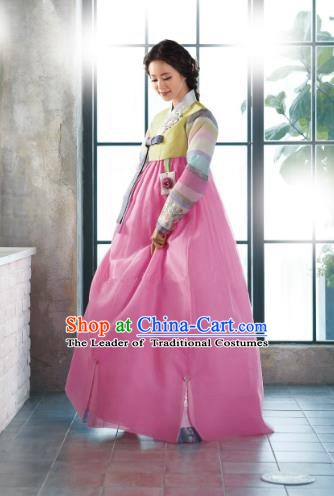 Top Grade Korean Hanbok Traditional Yellow Blouse and Pink Dress Fashion Apparel Costumes for Women