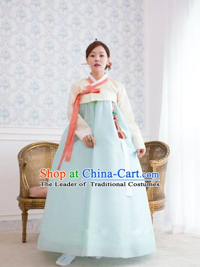 Top Grade Korean Hanbok Traditional White Blouse and Blue Dress Fashion Apparel Costumes for Women