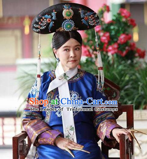 Chinese Qing Dynasty Imperial Consort De Embroidered Dress Ancient Palace Lady Replica Costume for Women