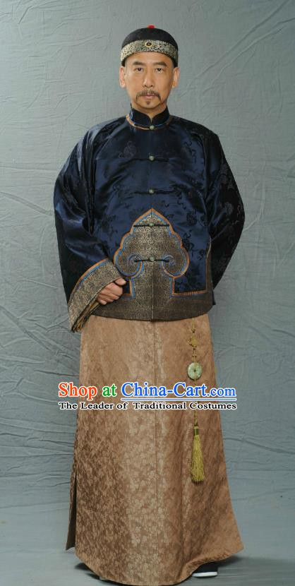 Chinese Ancient Qing Dynasty Manchu Royal Highness Fu Quan Replica Costume for Men