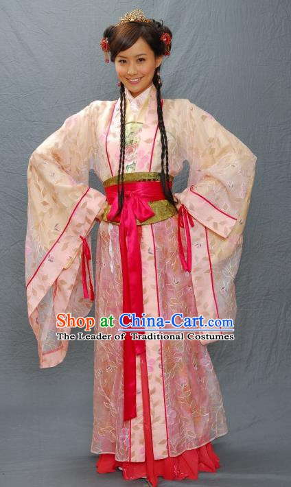 Chinese Ancient Ming Dynasty Beauty Qiu Xiang Costume Embroidered Dress for Women
