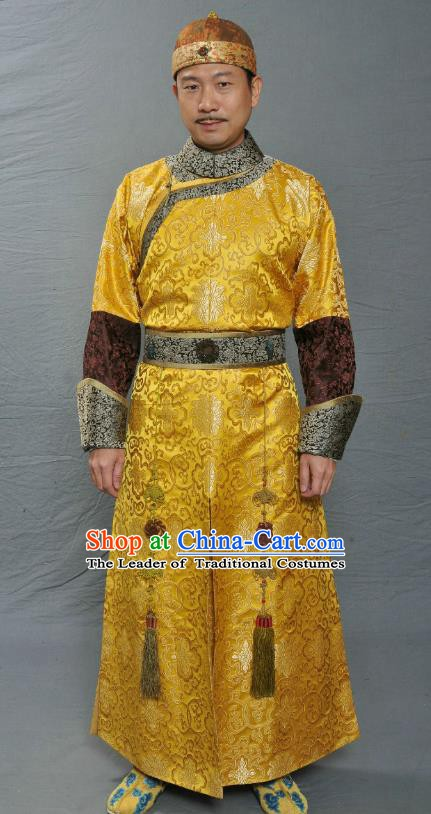 Chinese Ancient Qing Dynasty Manchu Crown Prince of Kangxi Replica Costume for Men