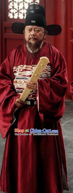 Traditional Chinese Ming Dynasty Ancient Chancellor Wang Chen-En Costume for Men