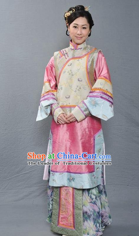 Chinese Ancient Qing Dynasty Imperial Consort Hua Embroidered Manchu Dress Costume for Women