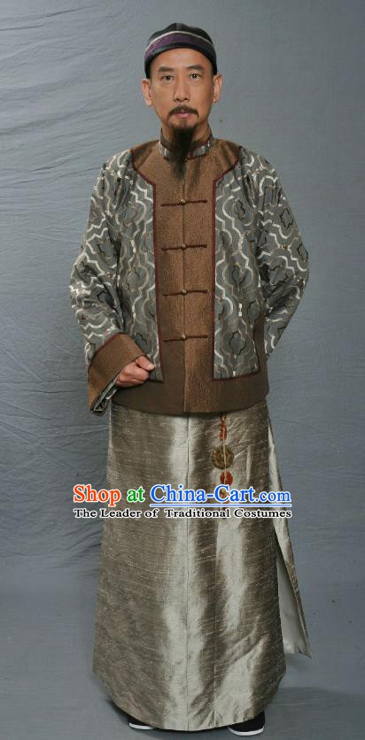 Chinese Ancient Qing Dynasty Manchu Minister Wu Sidao Replica Costume for Men