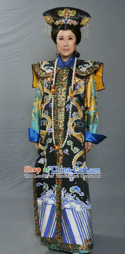 Chinese Ancient Qing Dynasty Imperial Consort De Embroidered Manchu Dress Costume for Women