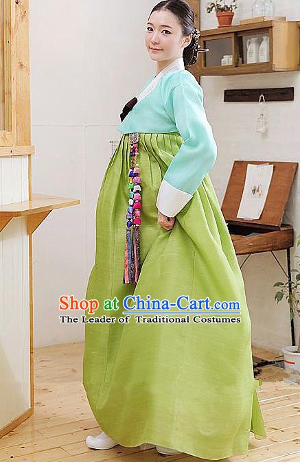Top Grade Korean Hanbok Traditional Blue Blouse and Green Dress Fashion Apparel Costumes for Women