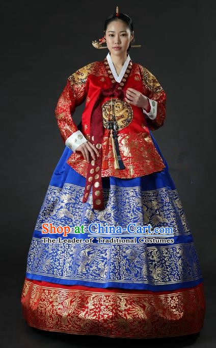 Top Grade Korean Palace Hanbok Traditional Empress Red Blouse and Blue Dress Fashion Apparel Costumes for Women