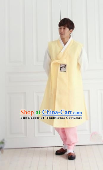 Asian Korean Traditional Costume Ancient Bridegroom Yellow Hanbok for Men